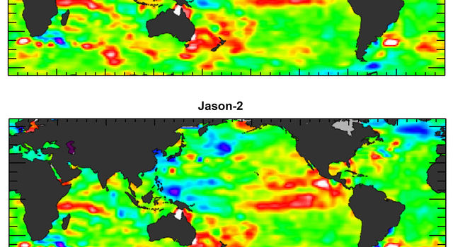 The U.S./European Jason-3 satellite has produced its first map of sea surface height