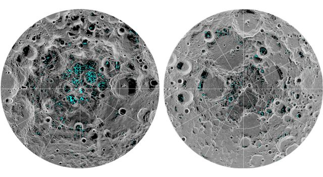 Distribution of surface ice at the Moon's south pole (left) and north pole (right)