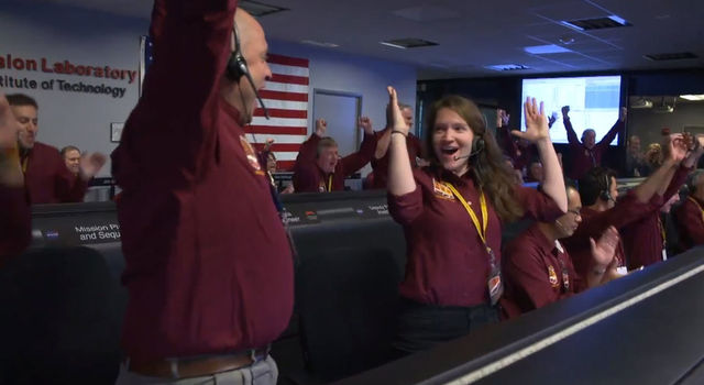 reactions after receiving confirmation that the spacecraft successfully touched down on the surface of Mars