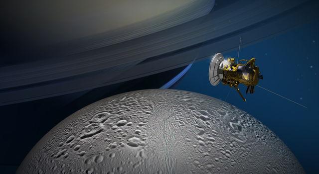 Artist's concept of Cassini's flyby