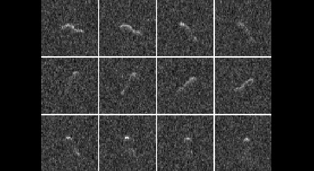 Twelve radar images of the nucleus of comet Hartley 2