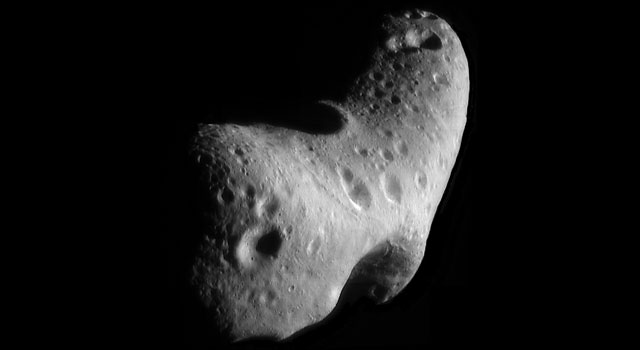 a close-up view of Eros, an asteroid with an orbit that takes it somewhat close to Earth