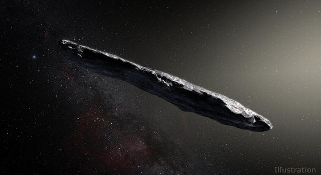 Artist's concept of interstellar asteroid 1I/2017 U1