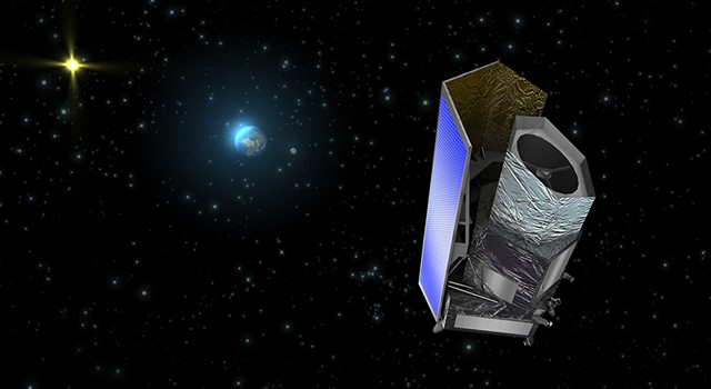 This artist's concept shows the Euclid spacecraft.