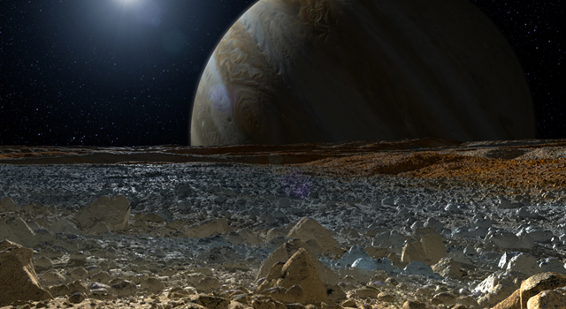 This artist concept of Jupiter's Icy Moon Europa