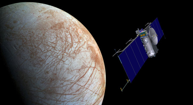 Artist concept of NASA's Europa mission spacecraft approaching its target for one of many flybys.