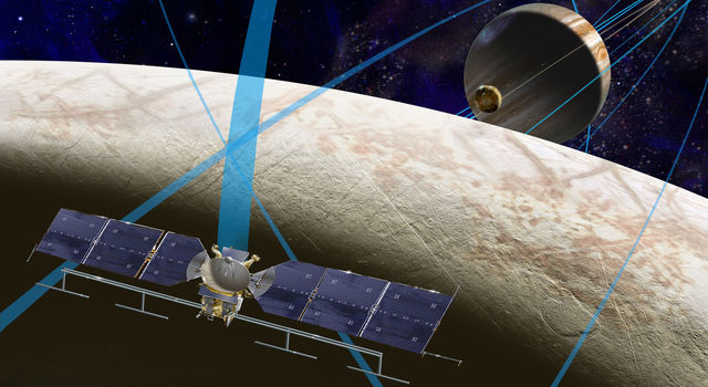 This artist's rendering shows a concept for a future NASA mission to Europa