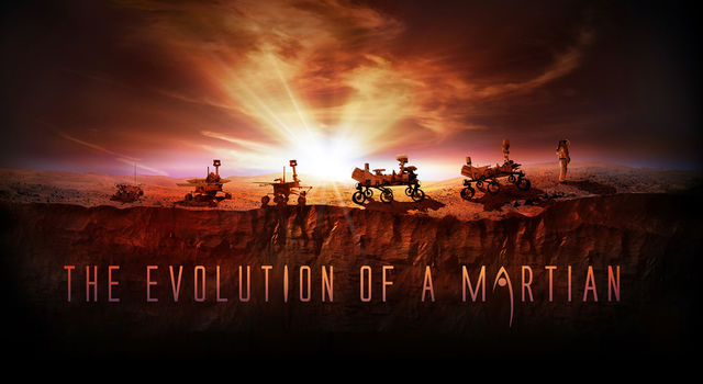 This artist's illustration shows NASA's four successful Mars rovers