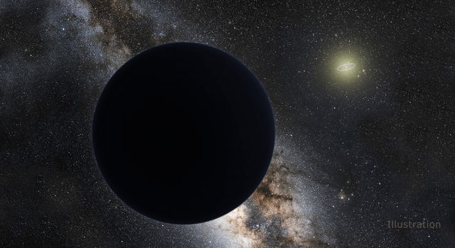 An artist's illustration of a possible ninth planet in our solar system, hovering at the edge of our solar system.