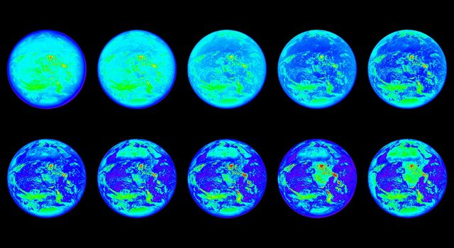 These images show the sunlit side of Earth in 10 different wavelengths of light that fall within the infrared, visible and ultraviolet ranges; the images are representational-color, because not all of these wavelengths are visible to the human eye.