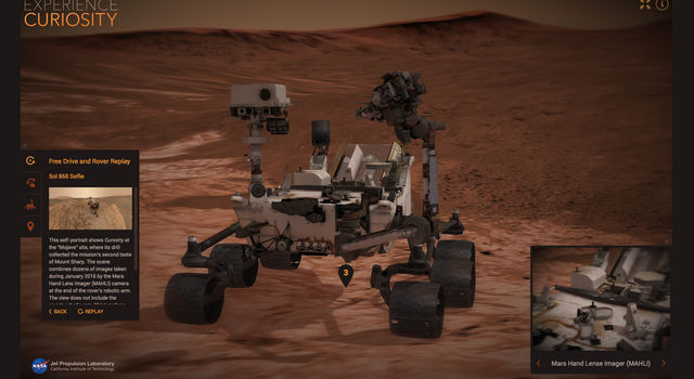 A screen capture from NASA's new Experience Curiosity website