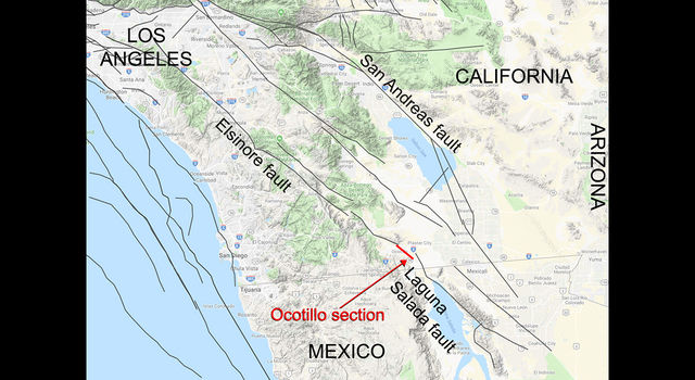 Approximate location of the newly mapped Ocotillo section