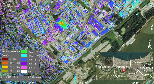 Subsidence in Jefferson Parish, Louisiana, from June 2009 to July 2012.