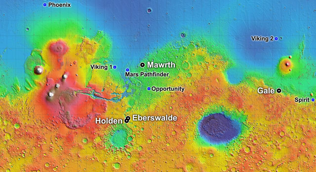 map showing 4 possible landing sites for Mars Science Lab
