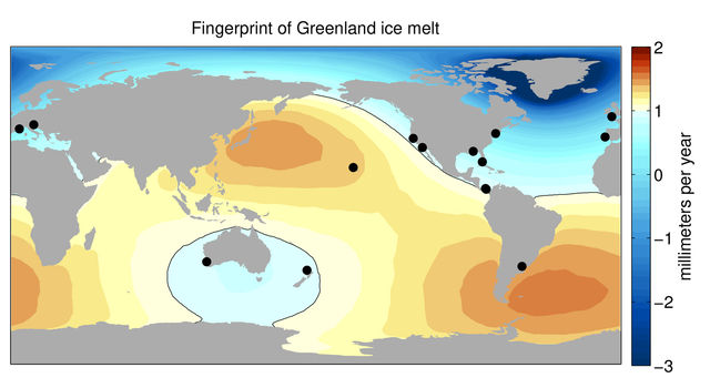 Sea level change resulting from Greenland ice melt, derived from NASA GRACE measurements.