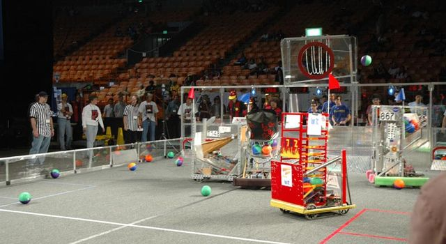 robots compete in basketball tournament