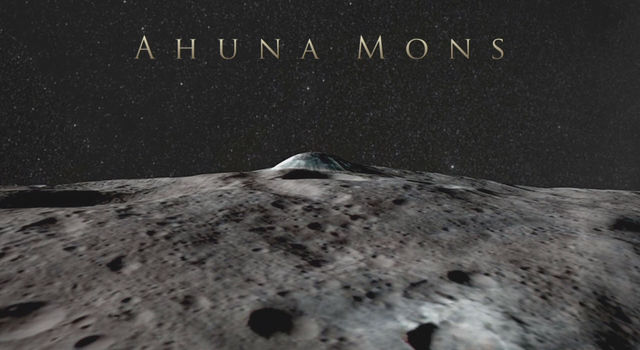 Ahuna Mons on Ceres, a mountain about 4 miles (6 kilometers) tall, in a simulated view using Dawn images.