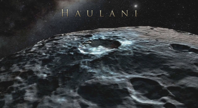 Haulani Crater (21 miles, 34 kilometers) in a simulated view using Dawn images.