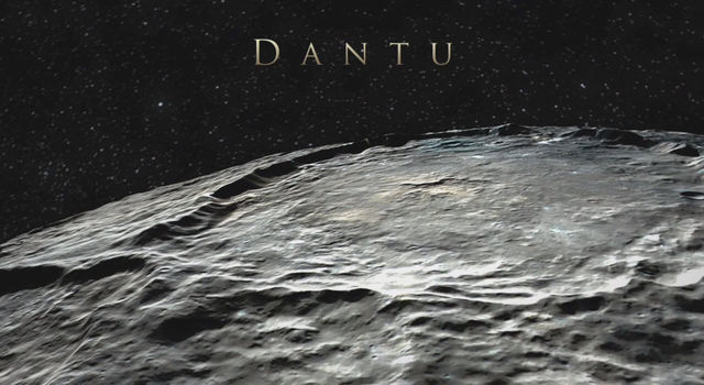 Dantu Crater (78 miles, 126 kilometers) in a simulated view using Dawn images.
