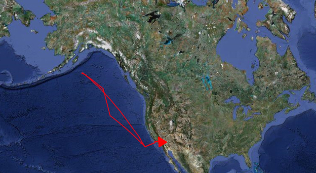 On its April 7 flight, the Global Hawk flew approximately 4,500 nautical miles along.