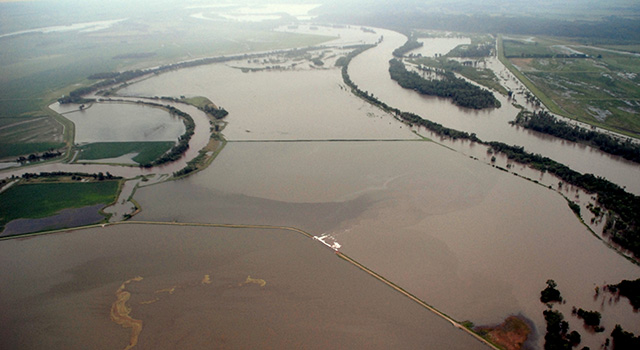 The flooded confluence of the Nishnabotna and Missouri Rivers in Iowa, June 2011.