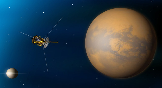 Artist's concept of Cassini's Sept. 24, 2010, flyby of Saturn's moon Titan