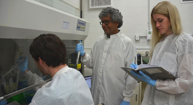 Kasthuri 'Venkat' Venkateswaran, senior research scientist at JPL, center, works with engineer Ryan Hendrickson, left, and intern Courtney Carlson, right.