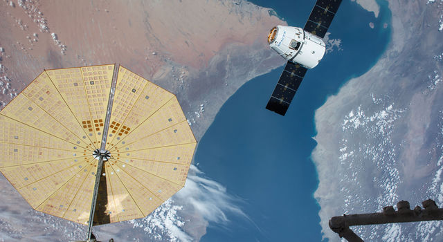 The SpaceX Dragon spacecraft nears the International Space Station