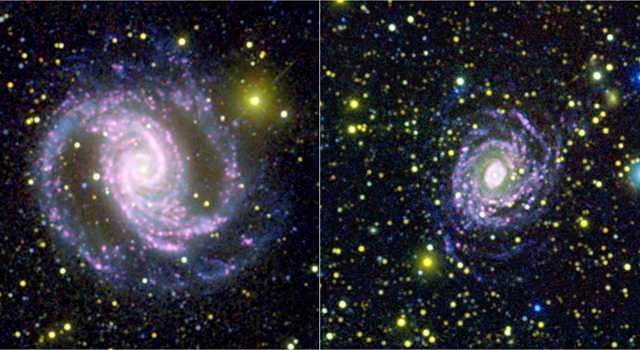 Images from NASA's Galaxy Evolution Explorer spacecraft and the Cerro Tololo Inter-American Observatory in Chile.