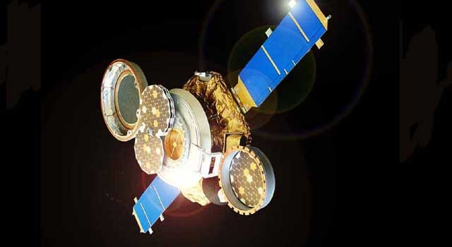 This artist's conception shows the Genesis spacecraft in collection mode, opened