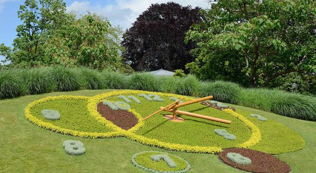 A flower clock is seen in the Jardin Anglais, Geneva, Switzerland.