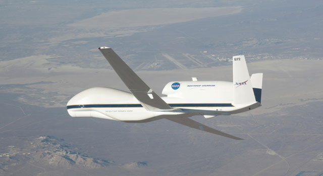 The Global Hawk can fly autonomously to altitudes above 60,000 feet -- roughly twice as high as a commercial airliner -- and as far as 11,000 nautical miles.