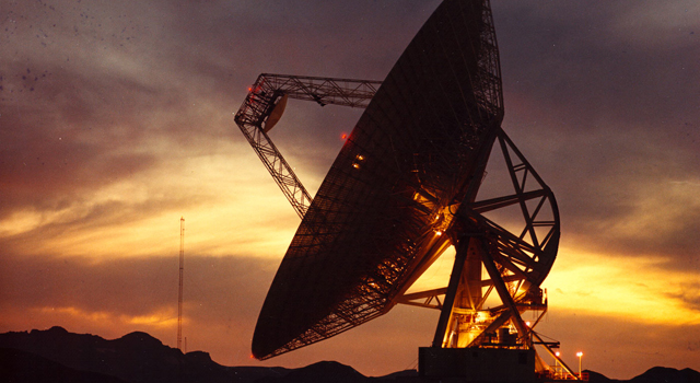 Sunset shot of the 70m antenna at Goldstone, California.