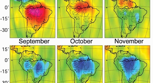 monthly changes over South America in the distribution of water