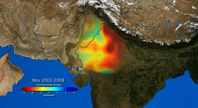 depletion of groundwater in northwestern India between 2002 and 2008