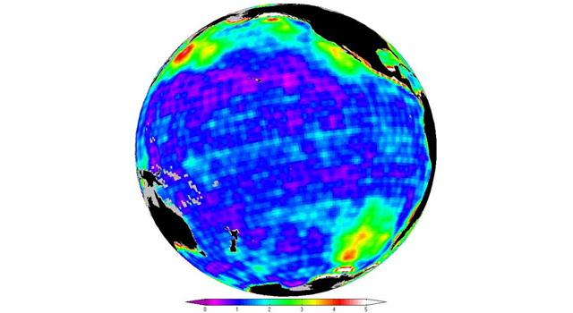 This map shows changes in ocean bottom pressure measured by NASA's Gravity Recovery and Climate Experiment (Grace)