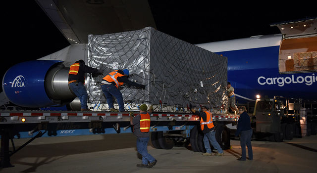 A crate containing one of the twin Gravity Recovery and Climate Experiment Follow-On (GRACE-FO) satellites