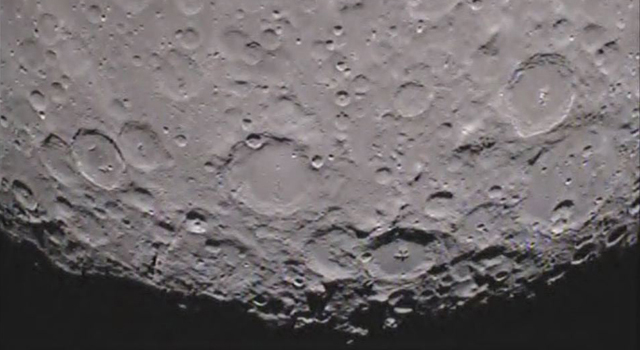 South pole of the far side of the moon as seen from the GRAIL mission's Ebb spacecraft.