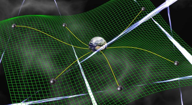 Gravitational waves are ripples in space-time, represented by the green grid