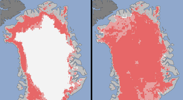 Greenland's surface ice cover melted over a larger area than had ever been seen before by satellites