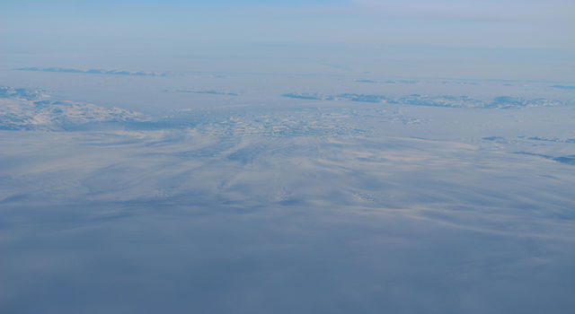 Aerial photo of all of lower Zachariae Isstrom glacier