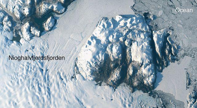 Landsat-8 image of Greenland's Zachariae Isstrom