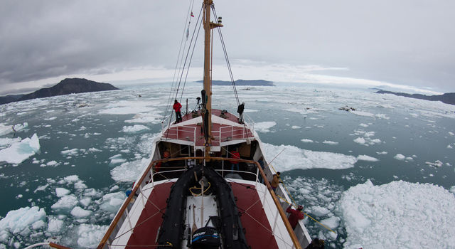 Glaciologists from the University of California, Irvine, and JPL mapped remote Greenland fjords by ship in 2014.