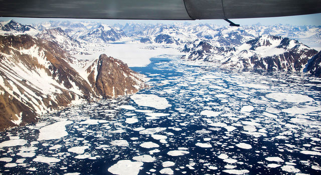 An aerial view of the icebergs near Kulusuk Island