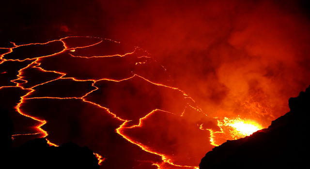 Night view of Hawaii's Kilauea Volcano, one of Earth's most active volcanoes.