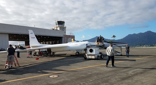 NASA's ER-2 aircraft is prepped for flight at Marine Corps Base Hawaii on the island of Oahu.