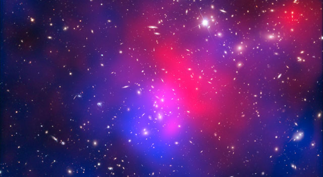 This image combines visible light exposures of galaxy cluster Abell 2744
