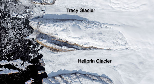 Tracy and Heilprin glaciers in northwest Greenland