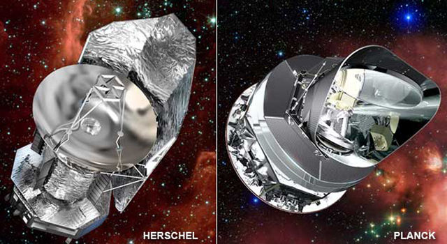 Artist concepts of Herschel and Planck.