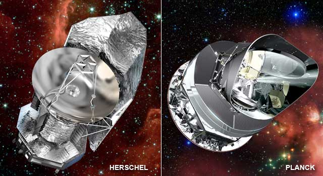 artist concept of Herschel and Planck